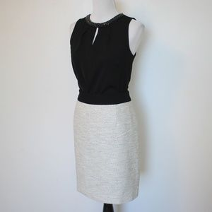 BANANA REPUBLIC Size 8 Skirt Blouse Ivory Black